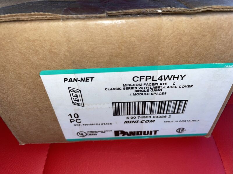 Box of 10 PANDUIT CFPL4WHY 4-PORT MINI-COM FACEPLATE New Free Shipping