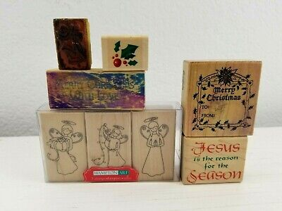 Wooden Wood Rubber Stamps Christmas Seasons angel jesus lot of 8 Christmas Wooden Stamp