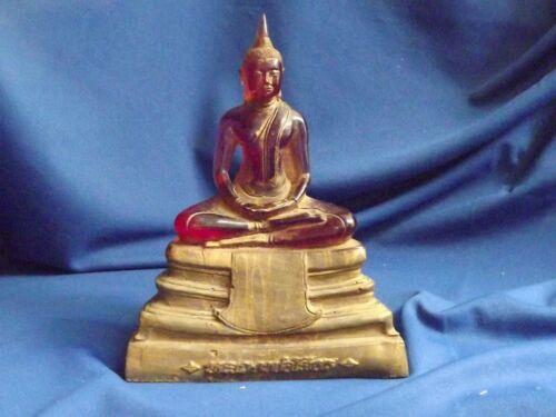 "Vintage Thai Buddha Amber/ Translucent Red Resin Large 8 3/4""H Gold Painted Base"