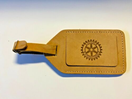 Vintage Rotary Club Luggage, Suitcase, Briefcase Leather Identification Tag; NOS