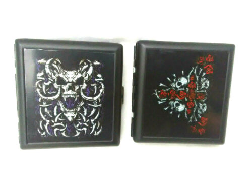 "Liquid Blue Hinged Tin Cigarette  Multi Purpose Case   Novelty Skulls  3.5""x3.5"""