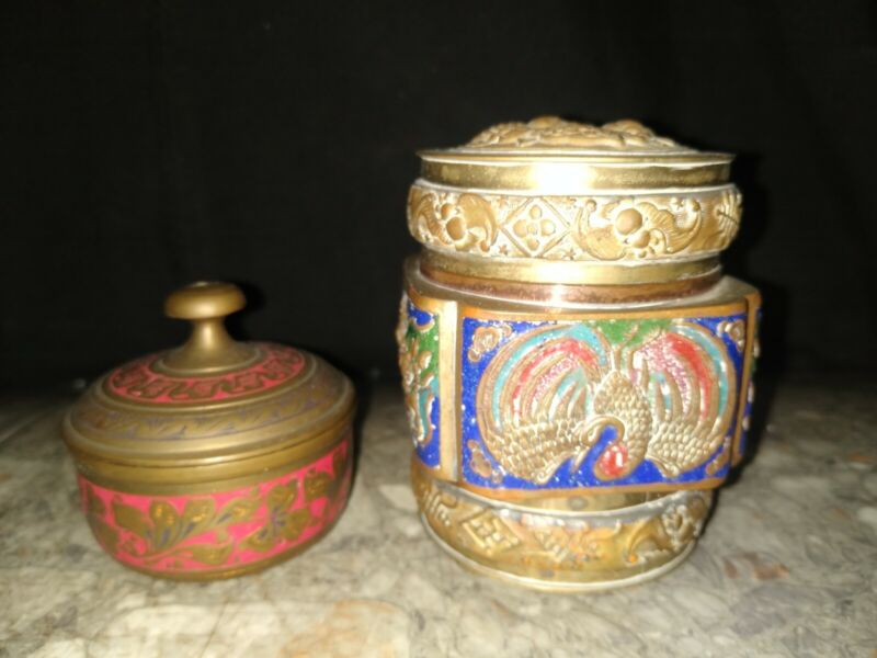 Vintage Brass Trinket Jar Lot Of 2 Made In China Decorative Handmade Painted