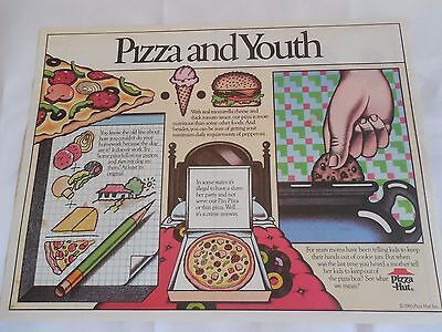 """Pizza Hut Placemat """"Pizza and Youth"""" w Care Bear Puzzles Unused 1985"""