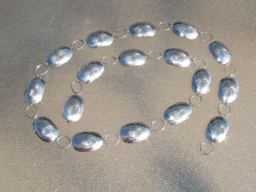 """Vintage Sterling Silver 36"""" Concho Belt, Stamped Sun Design"""