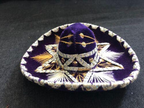 Vintage SOMBRERO Miniature Salesman Sample Hat PURPLE VELVET Sequins Stitched