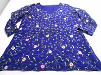 Hand Made In India Pretty Purple Crewel Embroidery Silk Blouse Top Uk 14 - hand made in india - ebay.co.uk