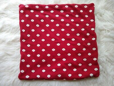 Knit sweater Red and White Polka Dot Pillow Case/ Cover 16x16 Holiday Christmas