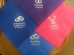 100 Personalised Wedding Napkins - Foil Print - Best Quality 3-ply 40cm