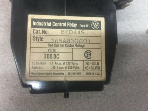 USED WESTINGHOUSE 120 VDC COIL 4 POLE RELAY BFD44S / 765A830G01