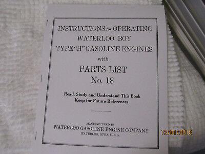 1923 Waterloo Boy H Model 2-5hp Gas Engine Instructionparts Manual