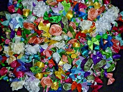 200+ Satin Ribbon Roses and Bows Applique Trim Sewing Bow Craft New Colors Colored Satin Ribbon Trim