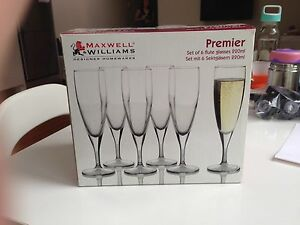 Maxwell & Williams Champagne Flutes x6 (NNIB) Petersham Marrickville Area Preview