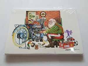 HARLEY DAVIDSON CHRISTMAS CARDS #X511 SANTA BIKER WORKING ON HIS PANHEAD (10)