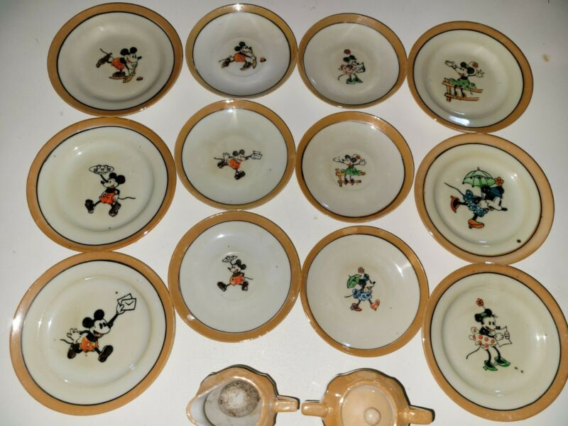 Vintage 20 Piece Mickey Mouse Tea Set