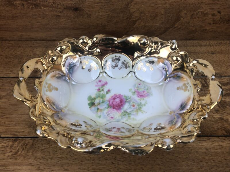 Vintage Double Handled Germany Porcelain Serving Bowl With Gold Accents