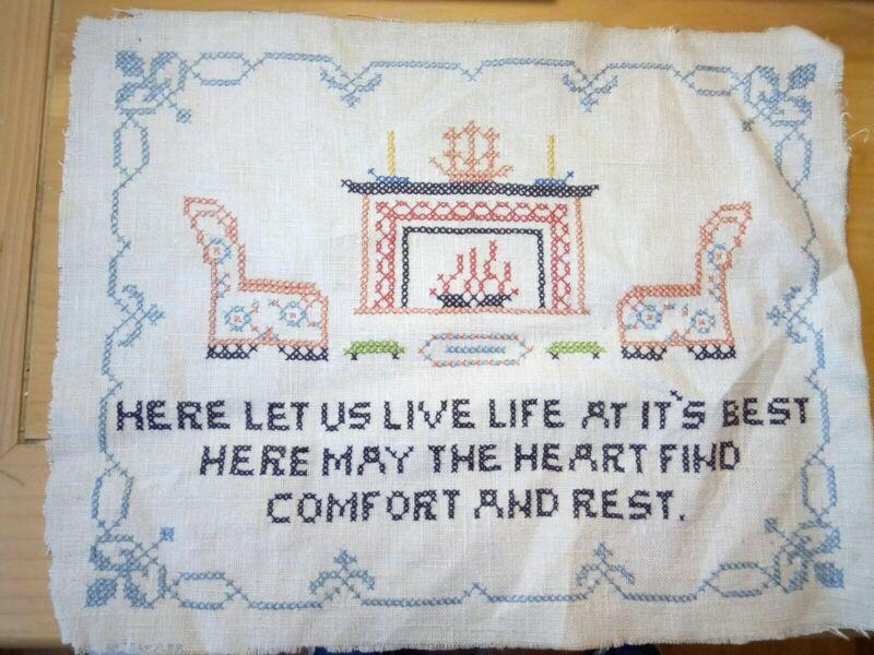 Vintage Complete Unframed Finished Cross Stitch Handmade Comfort And Rest