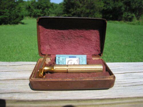 1946-1949 Gillette Fat Handle Tech DE Safety Razor Gold Tone w/Original Case