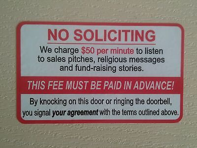 No Soliciting Funny Front Door Sign Sticker  New 5 3Inch