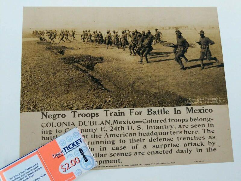 Rare! Mexican War Press Photos (Copy) US 24th Infantry Division. Buffalo Soldier
