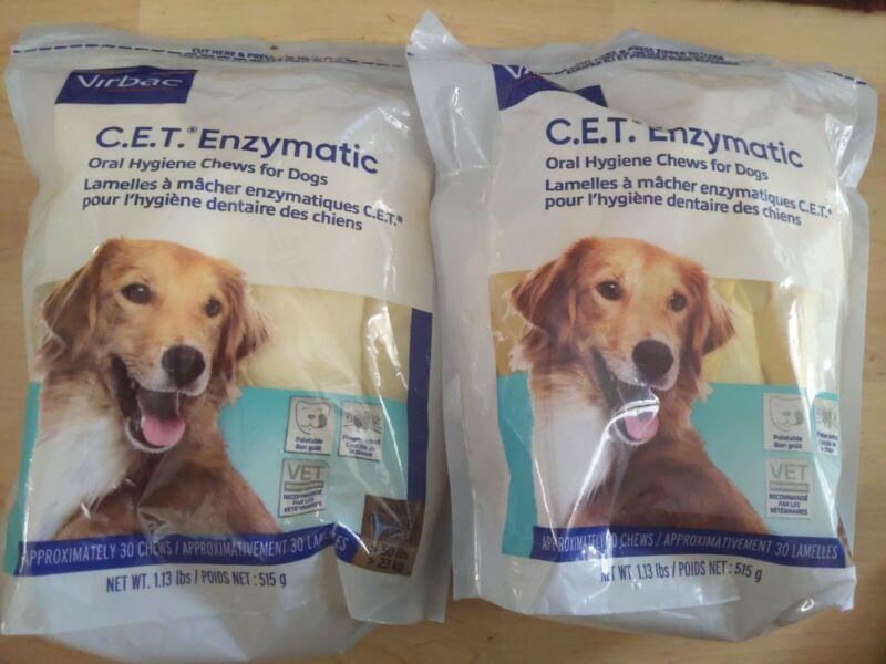 Virbac C.E.T. Enzymatic Oral Dental Hygiene 60 Chews for Large Dogs BB 08/23