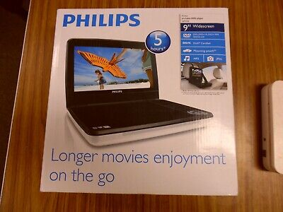 Philips White New In Box 9 inch portable DVD Player 5 Hour Battery PD9000