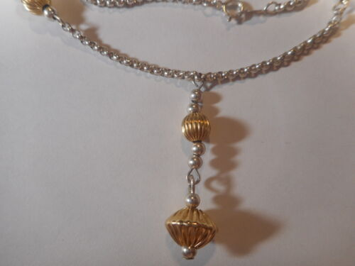 Vintage Sterling Silver Necklace with dangle & 14KYG Vermeil Beads Unused Mint