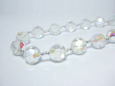 """Vintage Crystal Necklace for Women Czech 14mm Clear AB Glass Bead Jewelry 18"""""""