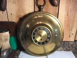 Vintage Brass Eight Day Jeweled Wind Up Wall Clock