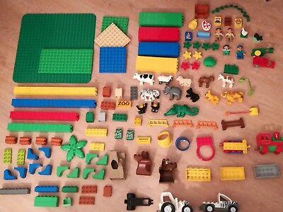 LEGO Duplo Zoo Traktor Jeep Eisenbahn Platten + Steine über 200 Teile