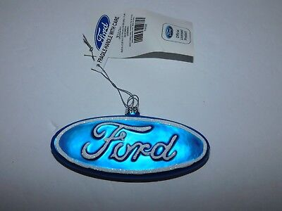 New with tag Officially Licensed Ford (motors) Logo Glass Christmas Ornanment