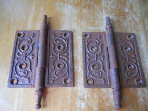 2 vintage Eastlake cast iron exterior door steeple hinges 4X4 old hardware