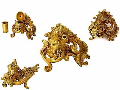 18th Antique gilt bronze INKWELL ROCOCO