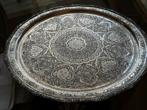 PERSIAN ART EXHIBITION X- LARGE SOLID SILVER TRAY ONE OF A KIND