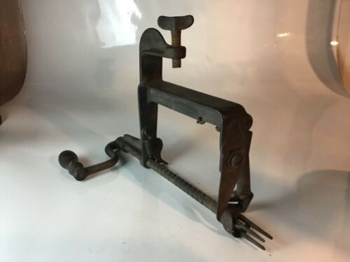 Antique primitive Apple peeler early kitchen crank wood handle clamps on table