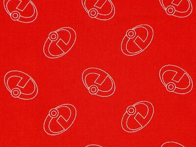 FAT QUARTER DISNEY INCREDIBLES 2  ICONS 100% COTTON FABRIC FAMILY OF SUPERHEROES