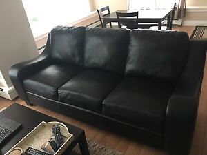 Black leather couch and chair! $200 OBO