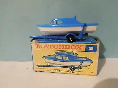 """Vintage Lesney Matchbox Regular Wheels No 9 Boat & Trailer """"F"""" Box VNM for sale  Shipping to South Africa"""