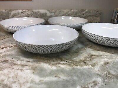 Large White Embossed Pasta Bowls Glyph By Sango 9.5 x 2 Set Of 4 New. Sango Dishwasher Safe Bowls