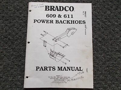 Bradco 609 611 Power Backhoe Attachment Skid Steer Loader Parts Catalog Manual