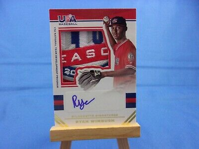 USA Baseball 2017 Ryan Wimbush Autograph Auto Patch 04/25 Silhouette Signatures