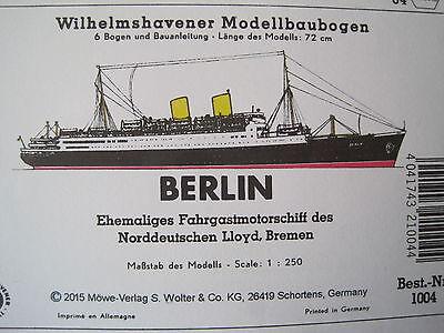 MS Berlin Fahrgastschiff Wilhelmshavener Modellbaubogen Bastelbogen Kartonmodell