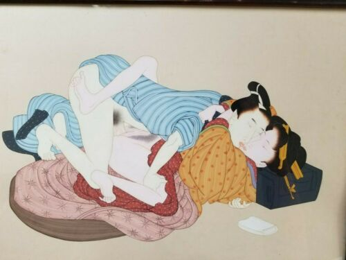 Vintage erotic Japanese painting. Framed, original