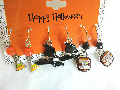 Fancy Dress Pairs (3 Pairs Lot Halloween Fancy Dress Witch Hat Pumpkin Candy Corn )