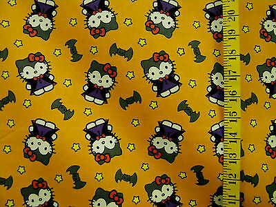 100 Halloween Costumes (HELLO KITTY HALLOWEEN COSTUMES BAT  PRINT 100% COTTON FABRIC BY THE 1/2)