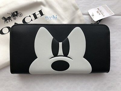 NWT COACH x DISNEY GLOVETANNED LEATHER MICKEY ACCORDION ZIP WALLET 54000