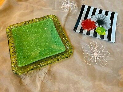 3 colorful Square trinket/candle Trays, layer or use individually, Green + more Green Square Candle
