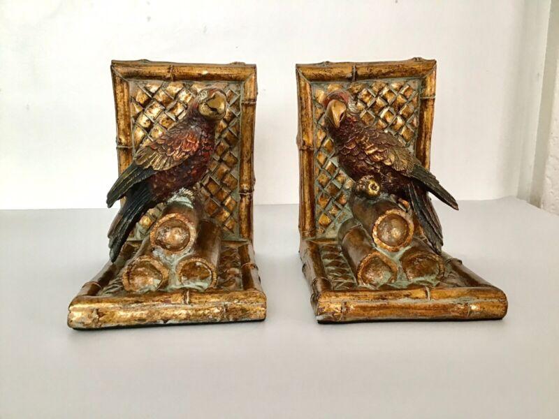 Vintage Bird Parrot, Parakeet Gilt Bookends