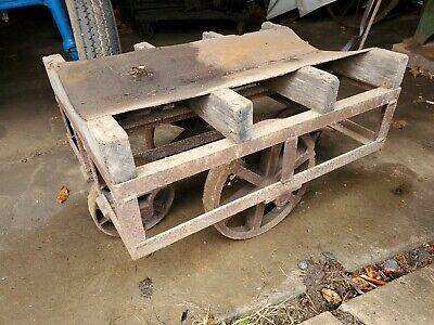 Vintage Factory Cart Steelcast Iron Wheels