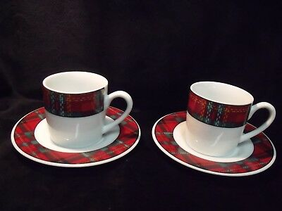 Pair Of Kopin Porcelain Tartan Demitasse Cups And Saucers