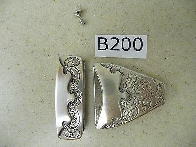 B200 Wholesale New Western Engraved Silver Tone Belt Tip & Loop